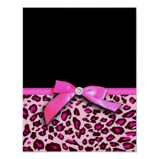 Hot pink leopard print ribbon bow graphic