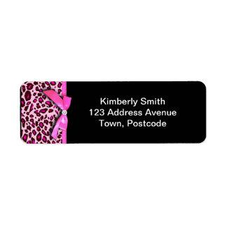 Hot pink leopard print ribbon bow graphic return address label