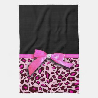 Hot pink leopard print ribbon bow graphic tea towel