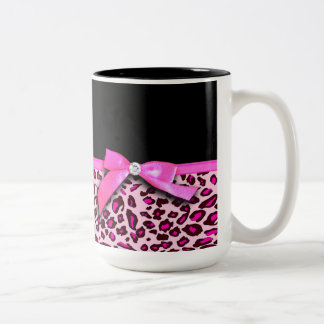 Hot pink leopard print ribbon bow graphic Two-Tone mug