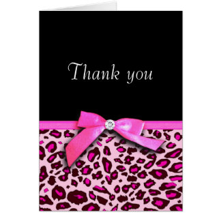Hot pink leopard print ribbon bow-look Thank you Card