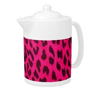 Hot Pink Leopard Print Teapot