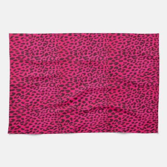 Hot Pink Leopard Print Towel* Tea Towel
