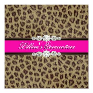 Hot Pink Leopard Quinceanera Invitations