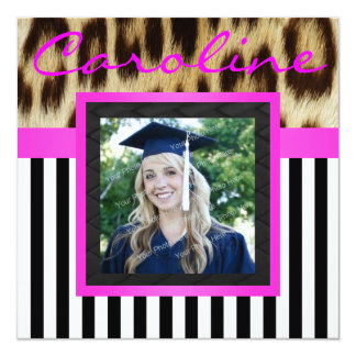 """Hot Pink Leopard Stripes Grad Photo Invite 5.25"""" Square Invitation Card"""