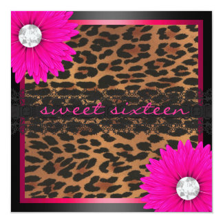 Hot Pink Leopard Sweet Sixteen 13 Cm X 13 Cm Square Invitation Card
