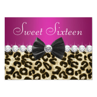 Hot Pink Leopard Sweet Sixteen 13 Cm X 18 Cm Invitation Card