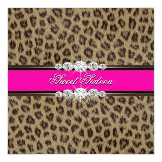Hot Pink Leopard Sweet Sixteen Birthday Party 13 Cm X 13 Cm Square Invitation Card