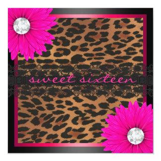 Hot Pink Leopard Sweet Sixteen Card