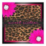Hot Pink Leopard Sweet Sixteen Custom Invites
