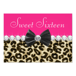 Hot Pink Leopard Sweet Sixteen Party 13 Cm X 18 Cm Invitation Card
