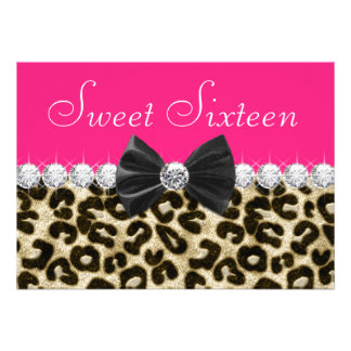 Hot Pink Leopard Sweet Sixteen Party Invitation