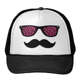 Hot Pink Leopard Wayfarer Mustache Design Cap