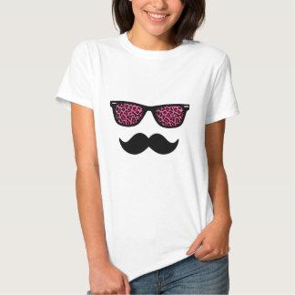 Hot Pink Leopard Wayfarer Mustache Design Tee Shirt