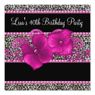 Hot Pink Leopard Womans 40th Birthday Party 13 Cm X 13 Cm Square Invitation Card