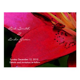 Hot Pink Lily- Save the Date Postcard