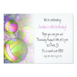 hot pink lime girls' volleyball party card