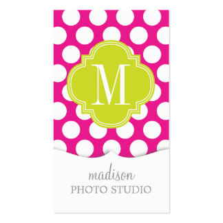 Hot Pink & Lime Green Big Polka Dots Monogrammed Business Cards