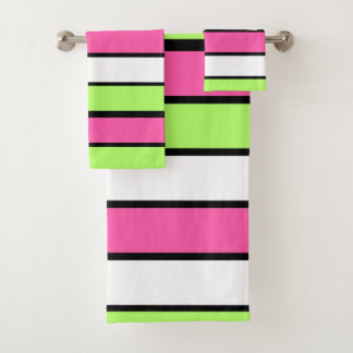Hot Pink, Lime Green, Black and White Stripes Bath Towel Set