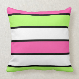 Hot Pink, Lime Green, Black and White Stripes Cushion