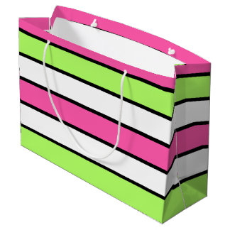 Hot Pink, Lime Green, Black and White Stripes Large Gift Bag