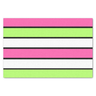 Hot Pink, Lime Green, Black and White Stripes Tissue Paper