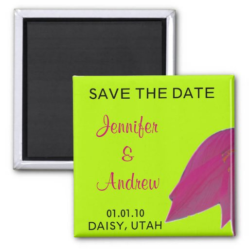 Hot Pink & Lime Green Flower Save the Date Magnet
