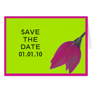 Hot Pink & Lime Green Flower Save the Date Note Card
