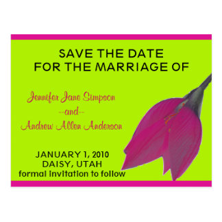 Hot Pink & Lime Green Flower Save the Date Postcard