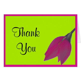 Hot Pink & Lime Green Flower Thank You Note Greeting Card