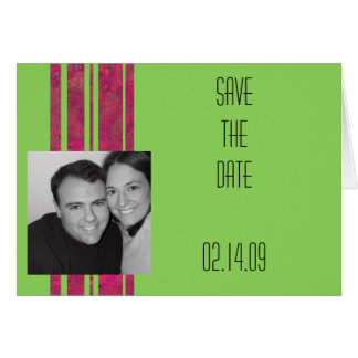 Hot Pink & Lime Save the Date Greeting Card
