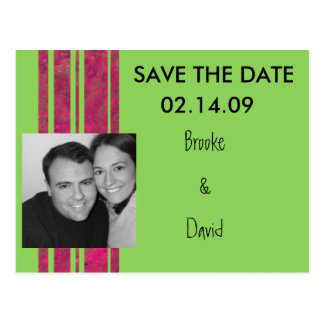 Hot Pink & Lime Save the Date Postcard