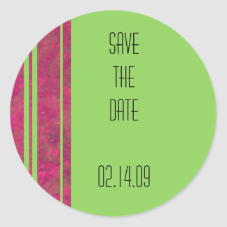 Hot Pink & Lime Stripe Save the Date Round Sticker