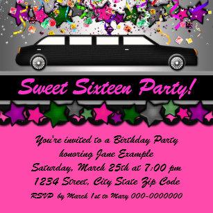 Limousine party invitations announcements zazzle uk hot pink limousine birthday party invitation stopboris Image collections
