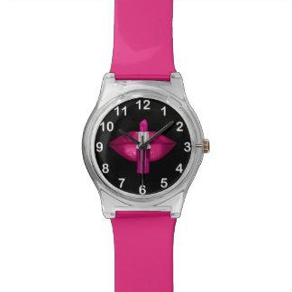 Hot Pink Lips Lipstick Glitter Glamour Black Wrist Watches