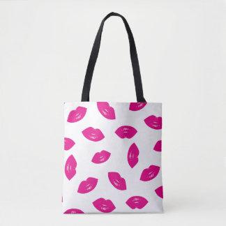 Hot Pink Lips Pattern Chic Lipstick Print Tote Bag