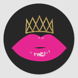 Hot Pink Lips Royal Gold Crown Modern Black Classic Round Sticker
