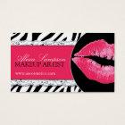 Hot  Pink Lips + Zebra Print Business Cards