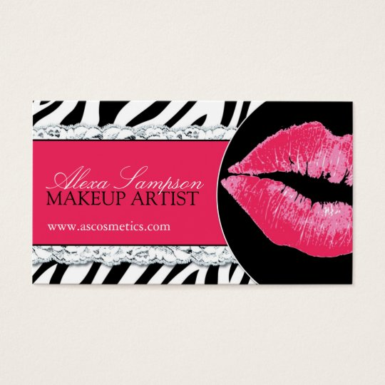 Hot Pink Lips + Zebra Print Business Cards