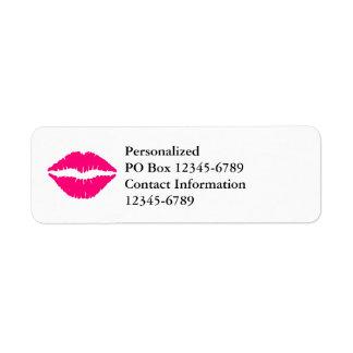 Hot Pink Lipstick Return Address Label
