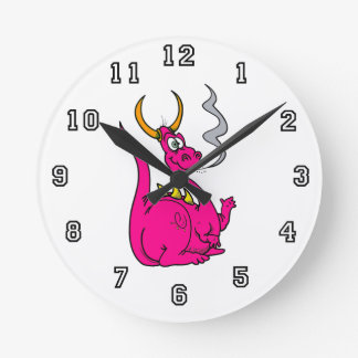 Hot Pink Little Dragon Cute.png Round Clock