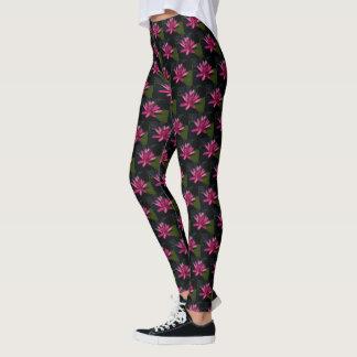 Hot Pink Lotus Waterlily Leggings