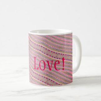 Hot Pink Love and Pretty Hearts Pattern Coffee Mug