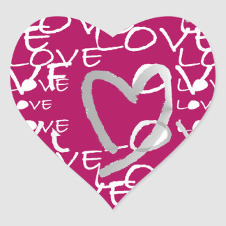 Hot Pink Love Heart Sticker