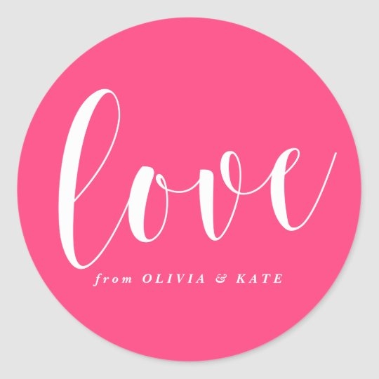 Hot Pink Love Modern Calligraphy Personalised Classic Round