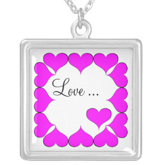 Hot Pink Love... Square Pendant Necklace