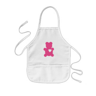 Hot Pink Love Teddy Kids Apron