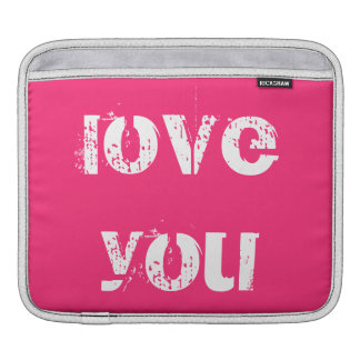 Hot Pink Love You Heart iPad and Macbook Sleeves