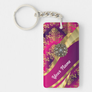 Hot pink Magenta & gold damask Double-Sided Rectangular Acrylic Key Ring
