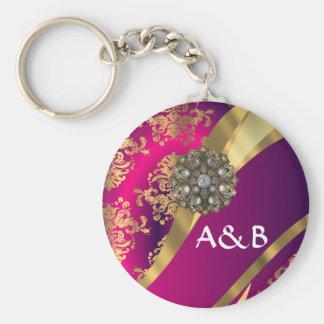 Hot pink Magenta & gold damask Basic Round Button Key Ring